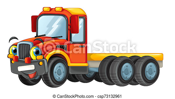 cartoon happy truck isolated on white background - illustration for children - csp73132961