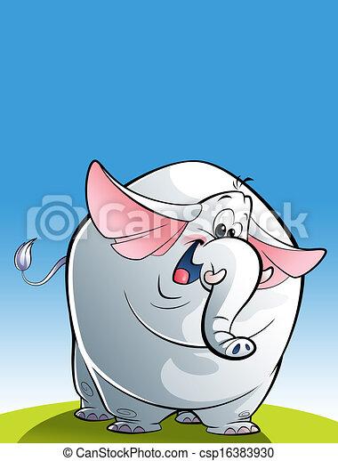 Cartoon happy white elephant - csp16383930