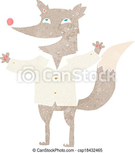 cartoon happy wolf wearing shirt - csp18432465
