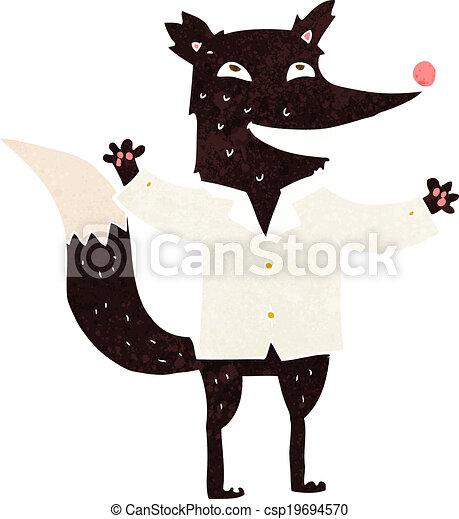 cartoon happy wolf wearing shirt - csp19694570
