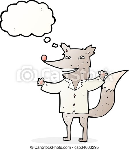 cartoon happy wolf wearing shirt with thought bubble - csp34603295