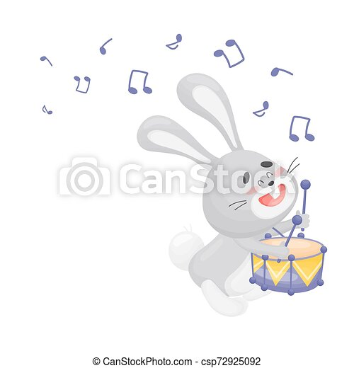 Cartoon hare with a drum. Vector illustration on a white background. - csp72925092