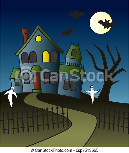 Cartoon haunted house scene a haunted house with a full - Cartoon haunted house pics ...