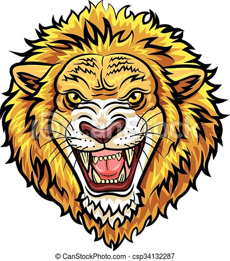 Cartoon head angry lion mascot - csp34132287