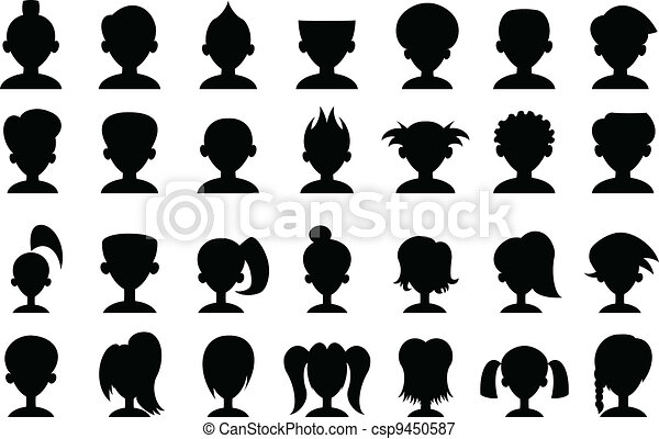cartoon head silhouettes set of cartoon head silhouettes one color