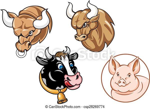 cartoon heads of bulls cow and pig cartooned farm animals heads