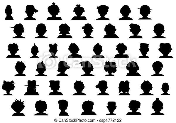 cartoon heads silhouette