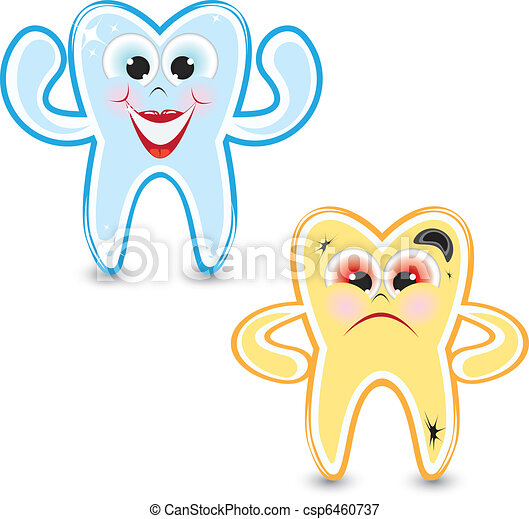 Cartoon healthy and diseased tooth - csp6460737