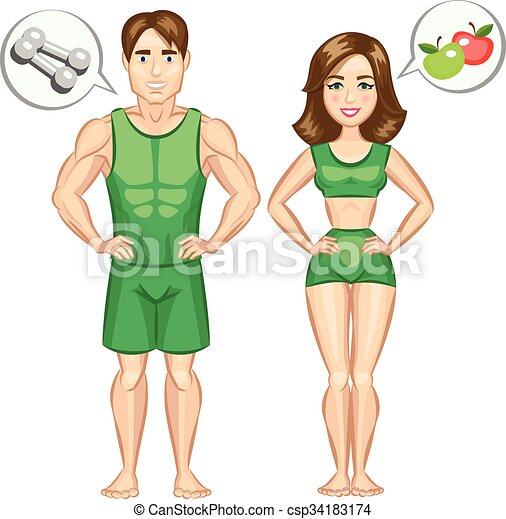 Cartoon Healthy And Sporty Woman And Man Vector Illustration