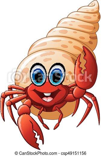 vector illustration of cartoon hermit crab clipart vector search rh canstockphoto com hermit crab shell clipart Cartoon Crab Clip Art