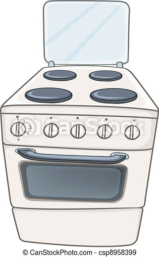 Cartoon Home Kitchen Stove Oven Isolated On White