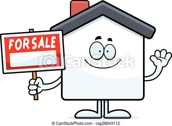 Cartoon Home Sale Waving - csp26643112