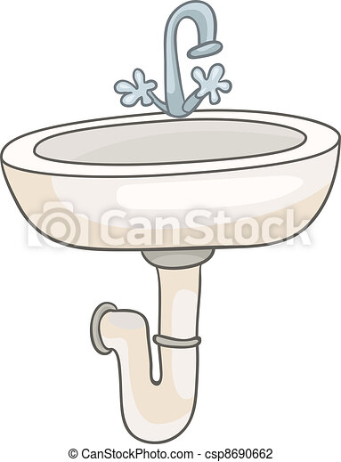 Cartoon Home Washroom Sink Isolated On White Background Vector