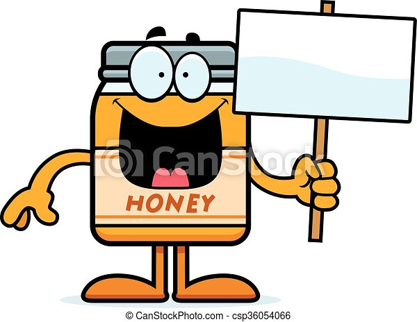 cartoon honey jar sign a cartoon illustration of a honey clip rh canstockphoto com honey clipart black and white honey clipart drawing