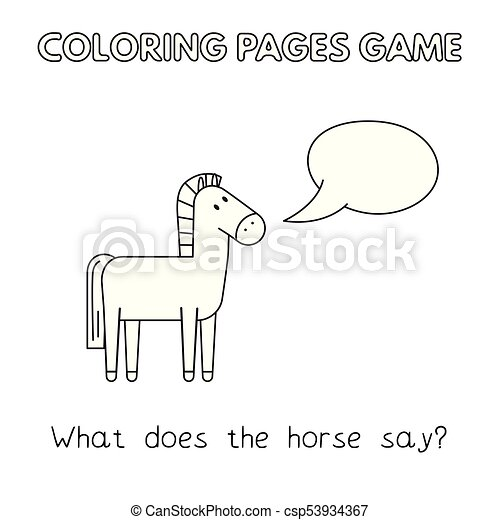 Cartoon Horse Coloring Book Funny Horse Kids Learning Game Vector
