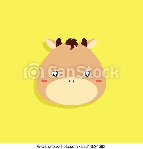 Cartoon Horse Face Abstract Cartoon Animals Face On A Yellow