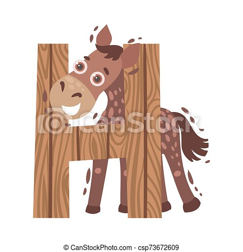 Cartoon horse with the letter H. Vector illustration on a white background. - csp73672609