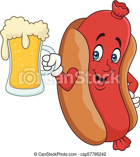Cartoon hotdog drinking beer - csp57795242