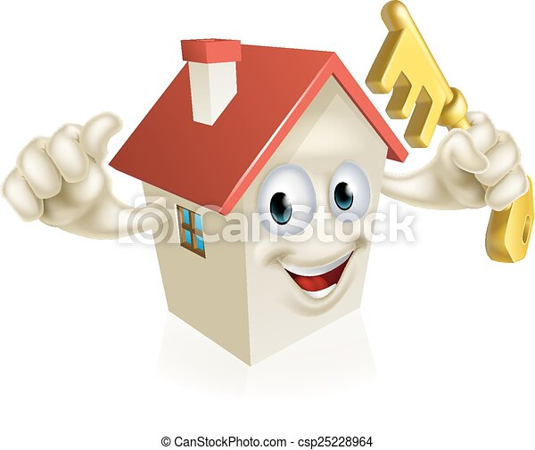 Cartoon House Holding Key - csp25228964