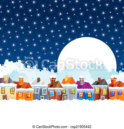 Cartoon houses in winter - csp21905442