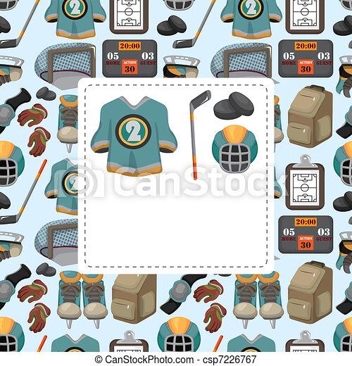 cartoon ice hockey sport seamless pattern - csp7226767
