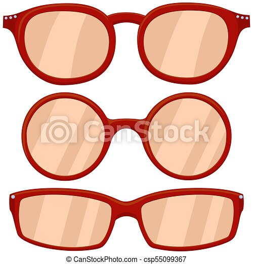 cartoon icon poster woman red glasses spectacles set clip art rh canstockphoto com