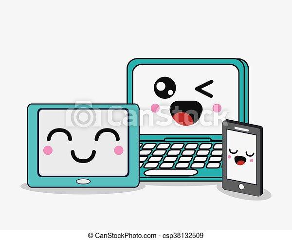 Cartoon icon set. kawaii and technology design. vector ...