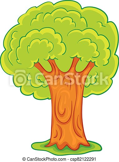 cartoon illustration, green tree with a powerful brown trunk, isolated object on a white background, vector illustration, - csp82122291