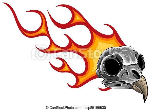 cartoon illustration of a bird skull with flames - csp85155530