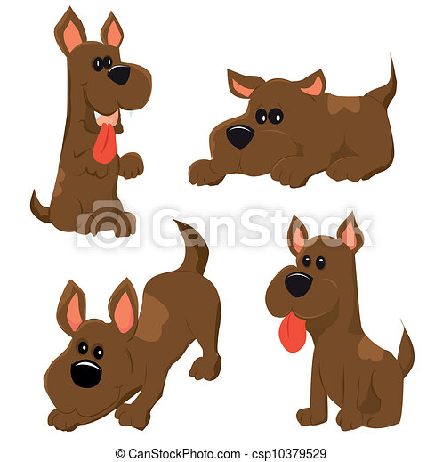 cartoon illustration of dog icons set - csp10379529