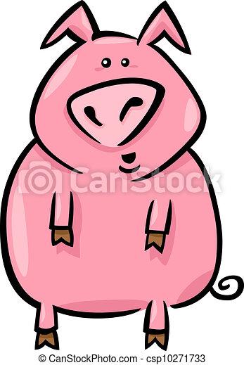 cartoon illustration of farm pig - csp10271733