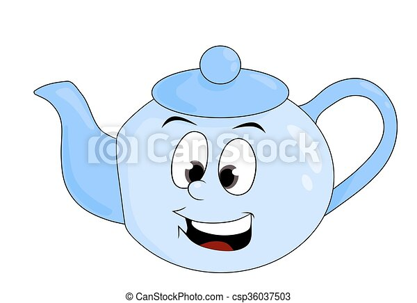 Cartoon Illustration Of Funny Teapot Isolated On White Background