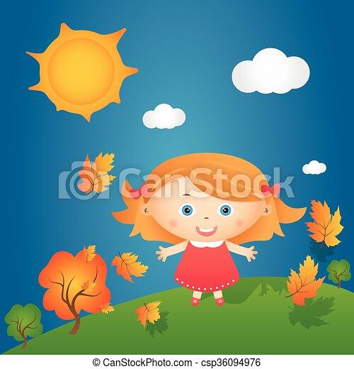 Cartoon illustration of happy little girl in autumn landscape. Vector - csp36094976