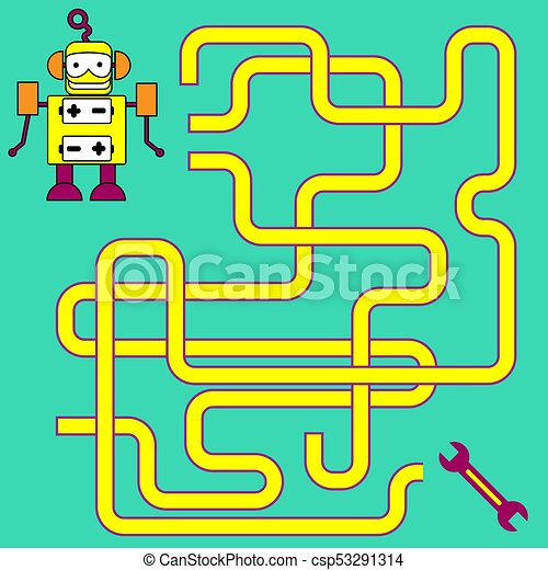 Cartoon Illustration Of Paths Or Maze Puzzle Activity Game Kids Learning Games Collection
