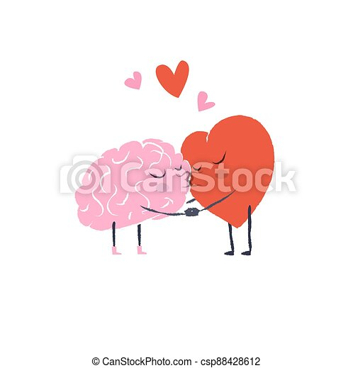 Cartoon Illustration of the Heart and Brain. Heart and Brain are in love hold hands and kiss each other. Happy Valentines Day Lettering. - csp88428612
