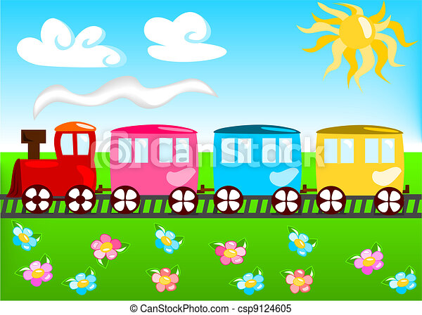 Cartoon illustration of train - csp9124605