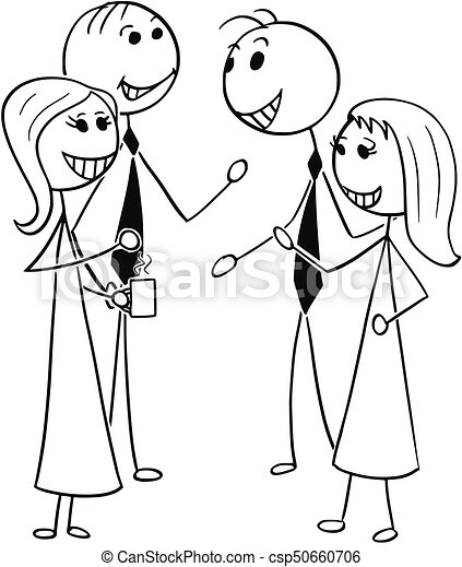 cartoon illustration of two men and women business people talking rh canstockphoto com cartoon people walking Cartoon People Talking to Each Other