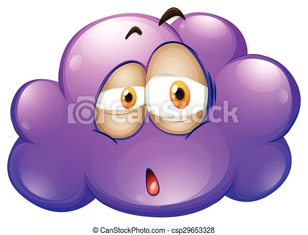 Line Drawing Of Sad Face : Cartoon purple cloud with sad face illustration vector