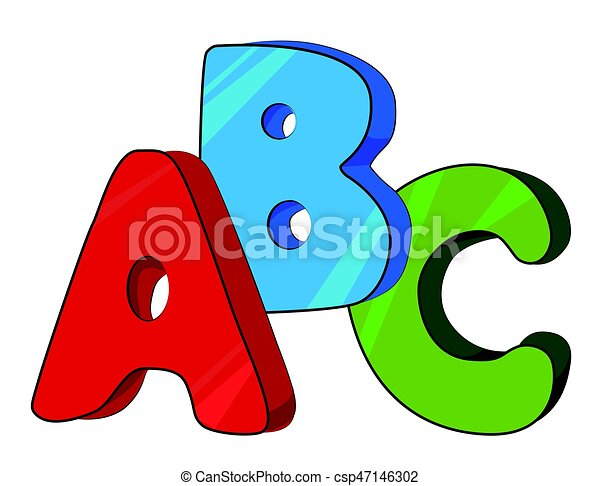 cartoon image of abc letters an artistic freehand picture