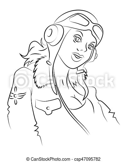 Cartoon image of air force woman - csp47095782