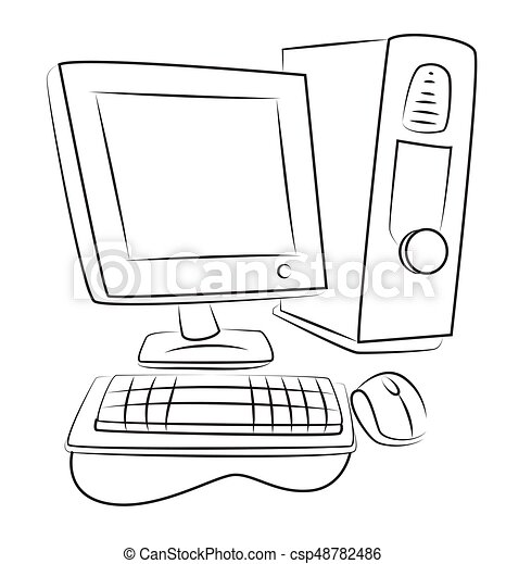 Cartoon Image Of Computer Icon Pc Symbol An Artistic Freehand Picture