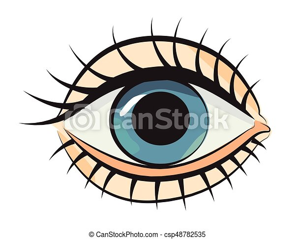 Cartoon image of eye an artistic freehand picture