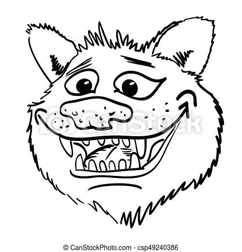 Cartoon image of grinning wolf face - csp49240386