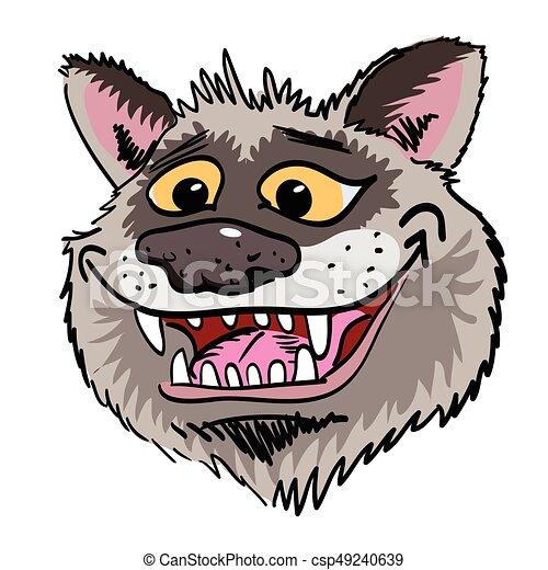 Cartoon image of grinning wolf face - csp49240639