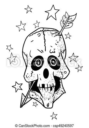 Cartoon image of magic skull with arrow through brain - csp49240597