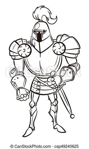 Cartoon image of medieval knight - csp49240625