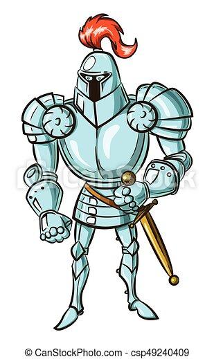 Cartoon image of medieval knight - csp49240409