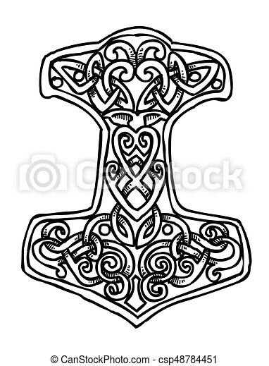 Cartoon Image Of Thor Hammer Icon An Artistic Freehand Picture