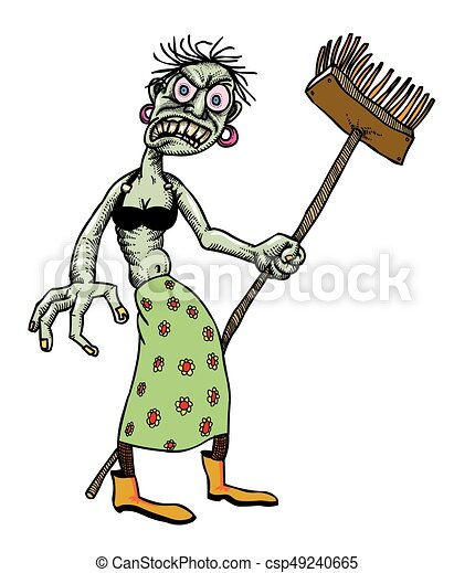 Cartoon image of undead monster lady cleaning - csp49240665