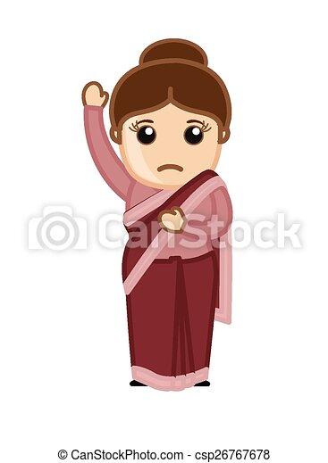Cartoon Indian Female Character